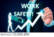 Купить «Conceptual hand writing showing Work Safety. Concept meaning policies and procedures in place to ensure health of employees Female human wear formal work suit presenting smart device», фото № 33856409, снято 29 мая 2020 г. (c) easy Fotostock / Фотобанк Лори