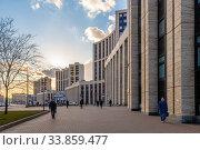Купить «Moscow, Russia - Feb 21, 2020. Office building on Academician Sakharov Avenue», фото № 33859477, снято 21 февраля 2020 г. (c) Володина Ольга / Фотобанк Лори