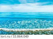 Купить «Blue sea water with waves, foam and white clouds on the sky. Calm tropical landscape», фото № 33864049, снято 4 июня 2020 г. (c) easy Fotostock / Фотобанк Лори