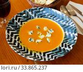 Купить «Cream soup of carrot with gorgonzola», фото № 33865237, снято 4 августа 2020 г. (c) Яков Филимонов / Фотобанк Лори