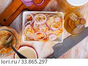 Купить «Sauerkraut with onion», фото № 33865297, снято 29 мая 2020 г. (c) Яков Филимонов / Фотобанк Лори