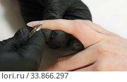 Купить «Manicurist Trimming The Cuticle To Woman's Manicured Hand In Nail Salon. Process Of Cutting Cuticle», видеоролик № 33866297, снято 28 мая 2020 г. (c) Алексей Кузнецов / Фотобанк Лори