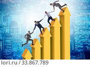 Купить «Colleagues helping each other to improve results», фото № 33867789, снято 6 июня 2020 г. (c) Elnur / Фотобанк Лори