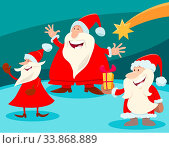 Cartoon Illustration of Christmas Design or Greeting Card with Santa Claus Characters and Star. Стоковое фото, фотограф Zoonar.com/Igor Zakowski / easy Fotostock / Фотобанк Лори