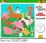 Illustration of Educational Counting Game for Preschool Children with Cartoon Farm Animal Characters Group. Стоковое фото, фотограф Zoonar.com/Igor Zakowski / easy Fotostock / Фотобанк Лори