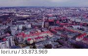 Купить «Panoramic view from the drone on the city Katowice. Poland», видеоролик № 33873969, снято 3 августа 2020 г. (c) Яков Филимонов / Фотобанк Лори