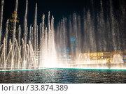 Купить «Dubai Dancing Fountain the wonderful evening show», фото № 33874389, снято 21 февраля 2020 г. (c) Дмитрий Травников / Фотобанк Лори