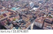 Купить «Panoramic aerial view of Padua cityscape with buildings and streets, Italy», видеоролик № 33874801, снято 5 сентября 2019 г. (c) Яков Филимонов / Фотобанк Лори