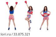 Купить «Woman boxer in uniform with US symbols», фото № 33875321, снято 14 июня 2013 г. (c) Elnur / Фотобанк Лори