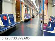Купить «Москва, вагон метро во время пандемии COVID-2019», фото № 33878605, снято 21 мая 2020 г. (c) Dmitry29 / Фотобанк Лори