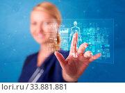 Купить «Doctor touching blue screen with full body analyze concept», фото № 33881881, снято 9 июля 2020 г. (c) easy Fotostock / Фотобанк Лори