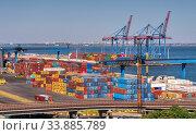 Купить «Container Terminal of Cargo Port of Odessa, Ukraine», фото № 33885789, снято 16 сентября 2019 г. (c) Sergii Zarev / Фотобанк Лори