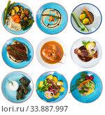 Collection of dishes on round plates. Стоковое фото, фотограф Яков Филимонов / Фотобанк Лори
