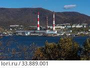 Kamchatka Power Station located in Petropavlovsk-Kamchatsky City (2018 год). Редакционное фото, фотограф А. А. Пирагис / Фотобанк Лори