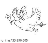 Купить «An illustration of a running chicken outline graphic for colouring books», фото № 33890605, снято 5 июля 2020 г. (c) easy Fotostock / Фотобанк Лори
