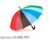 Купить «Colourful umbrella isolated on the white background», фото № 33890797, снято 4 июля 2020 г. (c) easy Fotostock / Фотобанк Лори