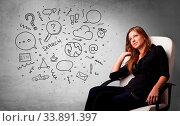 Купить «Young person thinking with office problems concept», фото № 33891397, снято 4 июля 2020 г. (c) easy Fotostock / Фотобанк Лори