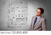 Купить «Young person thinking with office problems concept», фото № 33893409, снято 3 июля 2020 г. (c) easy Fotostock / Фотобанк Лори