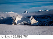 Купить «Snowy winter French Alps, ski resort Flaine, Grand Massif area within sight of Mont Blanc, Haute Savoie, France», фото № 33898701, снято 2 июня 2020 г. (c) easy Fotostock / Фотобанк Лори