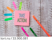 Купить «Text sign showing Take Action. Business photo text do something official or concerted to achieve aim with problem Plain note paper and line arrow stickers on the top of wooden table desk», фото № 33900081, снято 14 июля 2020 г. (c) easy Fotostock / Фотобанк Лори