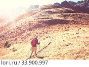 Купить «Hike in the autumn mountains. Fall season theme.», фото № 33900997, снято 2 июня 2020 г. (c) easy Fotostock / Фотобанк Лори