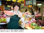 Adult female selling watermelon. Стоковое фото, фотограф Яков Филимонов / Фотобанк Лори