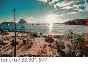 View of Cala d'Hort Beach, Ibiza (2013 год). Стоковое фото, фотограф Alexander Tihonovs / Фотобанк Лори