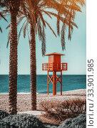 Lifeguard tower on the beach. Benalmadena, Malaga. Spain (2014 год). Стоковое фото, фотограф Alexander Tihonovs / Фотобанк Лори