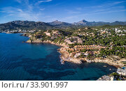 Aerial panorama of Costa de la Calma shoreline and turquoise clear green water of Mediterranean Sea. Hillside villas between pine forests, mountain range in valley. Mallorca, Majorca, Balearic Spain (2018 год). Стоковое фото, фотограф Alexander Tihonovs / Фотобанк Лори