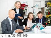 Купить «Business people developing strategy for teamwork in modern office with laptop», фото № 33908169, снято 14 января 2019 г. (c) Яков Филимонов / Фотобанк Лори