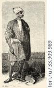 Sais, know groom. Egypt, Africa. Old 19th century engraved illustration, Le Tour du Monde 1863. Стоковое фото, фотограф Jerónimo Alba / age Fotostock / Фотобанк Лори
