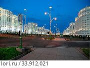 Купить «Night view of the new boulevard. Ashkhabad. Turkmenistan.», фото № 33912021, снято 13 июля 2020 г. (c) age Fotostock / Фотобанк Лори