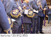 Купить «Music band follows the religious procession. Carmona, Andalusia. Spain.», фото № 33912953, снято 22 декабря 2019 г. (c) age Fotostock / Фотобанк Лори