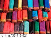Купить «Handmade national textile for traditional women dress. Turkmenistan. Ashkhabad market.», фото № 33915621, снято 13 июля 2020 г. (c) age Fotostock / Фотобанк Лори