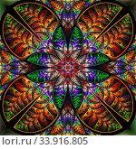 Купить «Multicolor symmetric pattern of the leaves. Collection - tree foliage. On black background.», фото № 33916805, снято 10 июля 2020 г. (c) age Fotostock / Фотобанк Лори