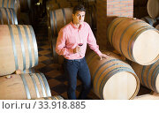 Handsome brunet man posing in winery cellar. Стоковое фото, фотограф Яков Филимонов / Фотобанк Лори