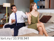 Купить «Offended girl gesturing enough to apologizing husband», фото № 33918941, снято 24 сентября 2018 г. (c) Яков Филимонов / Фотобанк Лори