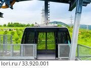 Cabin of the Tatev Wings cableway leading to Tatev Monastery, a landmark of Armenia. Стоковое фото, фотограф Константин Лабунский / Фотобанк Лори