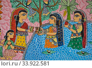 Mural painting the Madhubani style ( Bihar, India). The Madhubani ( or Mithila) style of painting is an art form practiced in northern india and southern Nepal. Стоковое фото, фотограф Franck Metois / age Fotostock / Фотобанк Лори