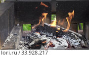 Wooden logs burning in a brazier in street,Wooden shelves burn in street mangal on territory of country house, preparation of coals for preparation of barbecues on open fire,BBQ, Стоковое видео, видеограф Куликов Константин / Фотобанк Лори