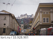 Hohensalzburg Fortress. Salzburg. Austria. Beautiful view on Salzburg skyline with Festung Hohensalzburg in the winter (2018 год). Редакционное фото, фотограф Nataliia Zhekova / Фотобанк Лори