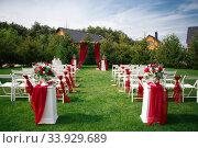 Wedding decorations marriage decor rustic style bridal arch and flowers. Стоковое фото, фотограф Nataliia Zhekova / Фотобанк Лори