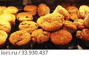 Купить «Magdalenas, typical spanish plain muffins closeup», видеоролик № 33930437, снято 9 июля 2020 г. (c) Яков Филимонов / Фотобанк Лори