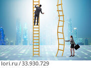 Купить «Concept of unequal career opportunities between man and woman», фото № 33930729, снято 3 августа 2020 г. (c) Elnur / Фотобанк Лори
