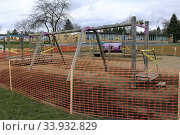 Купить «Elementary School playground closure due to Coronavirus pandemic emergency, Moscow, Idaho.», фото № 33932829, снято 14 июля 2020 г. (c) age Fotostock / Фотобанк Лори