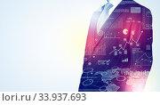 Купить «Leader man standing and thinking with graphs, charts, diagrams on the background», фото № 33937693, снято 5 июля 2020 г. (c) easy Fotostock / Фотобанк Лори