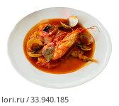Seafood monkfish tail with shrimp and mussels. Стоковое фото, фотограф Яков Филимонов / Фотобанк Лори