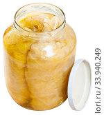 Купить «Glass jars with homemade sauerkraut. Winter food», фото № 33940249, снято 2 июля 2020 г. (c) Яков Филимонов / Фотобанк Лори