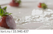 Купить «Milk splash on a ripe red strawberry fruit, which lies on a white plate with milk. Slow motion. A few berries lie on the white plate. Soft focus, close-up. Full HD video, 240fps,1080p.», видеоролик № 33940437, снято 12 июля 2020 г. (c) Ярослав Данильченко / Фотобанк Лори