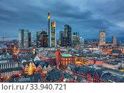 View on Frankfurt at dusk. Стоковое фото, фотограф Sergey Borisov / Фотобанк Лори
